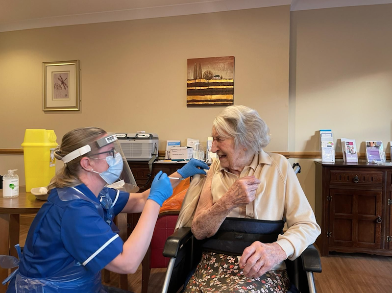 Foxholes resident receiving COVID-19 vaccine at residential home in Hitchin