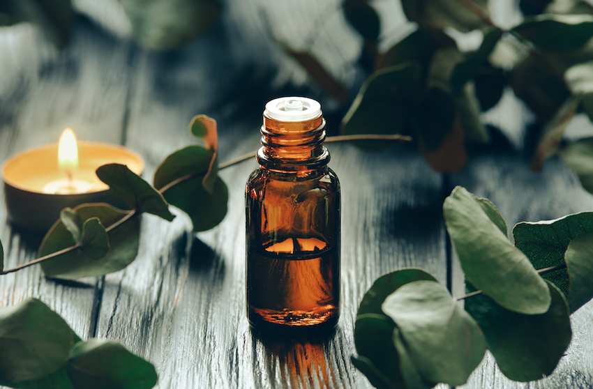 Essential oil therapy: bottle of oil with eucalyptus leaves and a tealight candle
