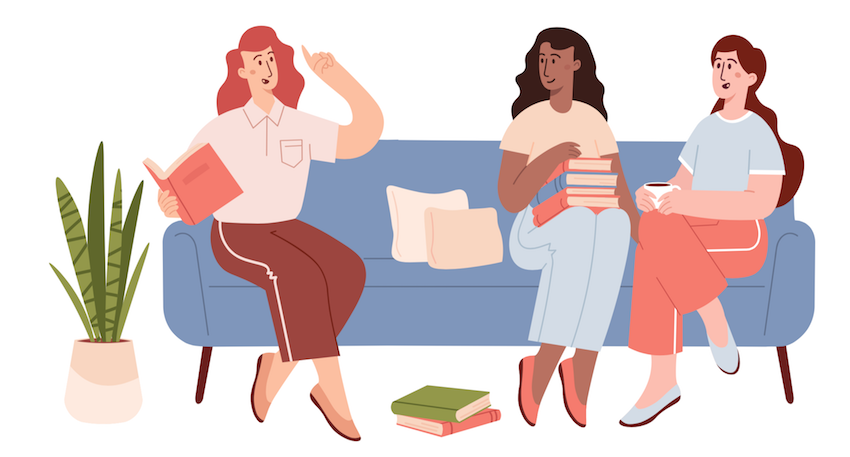 wellness in older adults: ladies sat together in community book club